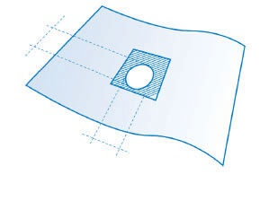 Sterylne serwety z otworem adhezyjnym w kształcie litery U 50 x 75 cm